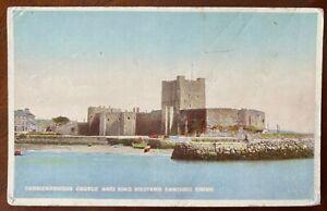 Carrickfergus Castle Co Antrim Vintage Postcard King William's Landing Stone