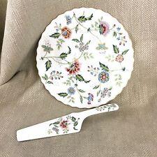 Vintage Cake Plate Stand & Serving Slice Floral Chintz  Porcelain Flowers Server