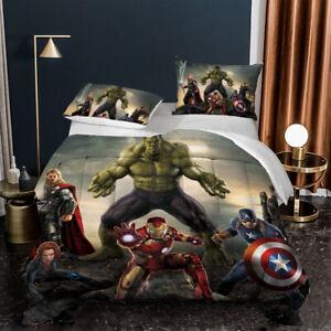 Avengers Summer Comforter Set 3PCS Lightweight Soft Duvet Quilt Pillowcases Gift