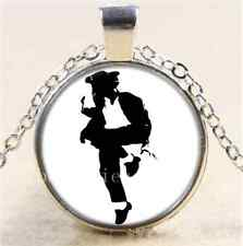 Michael Jackson Dance Cabochon Glass Tibet Silver Chain Pendant Necklace