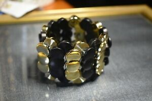 fun, acrylic, gold and black stretch bracelet , fashion