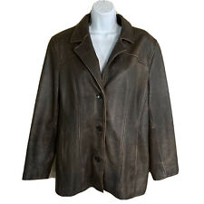 Wilsons Leather Blazer Jacket Womens XL Brown 3 Button Front Lined Slash Pockets