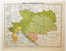 HISTORICAL MAP EMPIRE OF AUSTRIA HUNGARY 1815-1914 MORAVIA BOSNIA TYROL LOMBARDY