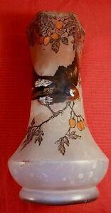 Vase  en pâte de verre Décor  Oiseau sur la  Branche Peinture émaillée signé Leg