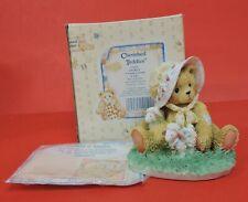 1992 Cherished Teddies Charity Bear In Bonnet With Lamb Figurine 910678