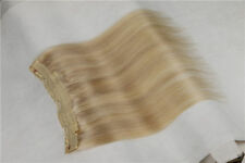 INVISIBLE WIRE WEFT 100% REMY HUMAN HAIR EXTENSION FULL HEAD HIDDEN HALO US SHIP
