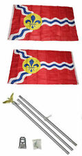 3x5 CITY OF ST LOUIS MISSOURI 2 Capas Bandera ALUMINIO Polo Kit Set 0.9mx5'