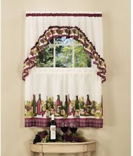 Kitchen Curtain Wine Bottles Grapes 57 in. W x 24 in. L Polyester (3 Piece Set)