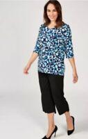 Kim & Co Printed Brazil Knit Jersey 3/4 Dolman Sleeve Tunic Size M RRP42