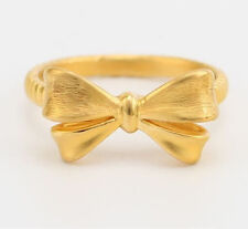 Authentic 999 24K Yellow Gold Ring 3D Bow Design Ring Band 1pcs Size: 4.5