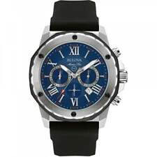 Bulova 98B258 Mens Marine Star Black Chronograph Watch Rubber Strap