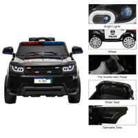 Electric 12V Kids Ride On Police SUV Car Remote Control LED Light Music Black