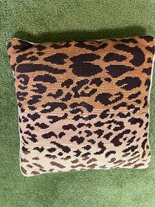 "LEOPARD ANIMAL PRINT Wool Needlepoint Pillow, Hand-Made, 13.5"" x 13.5"""