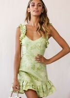 BNWT Green 100% Linen Leaf Print Ruffle Wild Eyes Cocktail Dress size 6 8