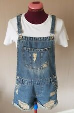 Women's SUPERDRY Distressed Denim Casual Summer Dungarees Shorts Size 10