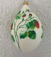 Patricia Breen Ornament - Strawberry Egg. Glittered. Neiman Marcus Exclusive