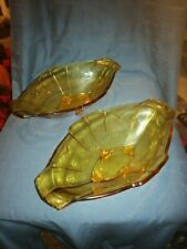 Pair of Art Deco Amber Glass Geometric Bowls. Sowerby.