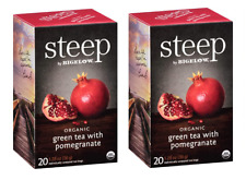 Bigelow Steep Organic Pomegranate Green Tea - 2 Boxes - 40 Tea Bags