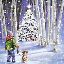 TOVAGLIOLI di carta 4x per feste, DECOUPAGE Shining Tree