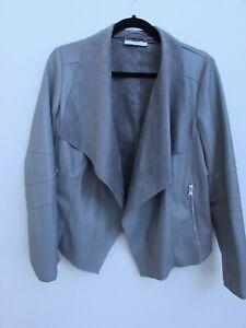 Wallis Ladies Grey Leather Look Smart Casual Jacket Size 14 Petite