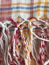 Pair Antique French BATH TOWELS cotton FRINGES BN mono c1900