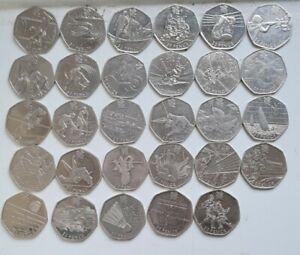 Very Rare Complete Full Set of 29 Olympic 50p Pence UK Coins 2011 Circulated