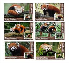 2019 RED PANDA  6 SOUVENIR SHEETS MNH UNPERFORATED