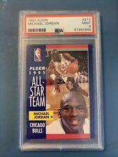 1991 Fleer #211 All-Star Michael Jordan PSA 9 Mint Chicago Bulls