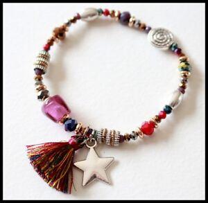 Bracelet elastique perle BIJOUX LOL LOLILOTA multicolore etoile dore pompon