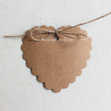 KRAFT HEART GIFT TAGS Scalloped Paper Wedding Bombonieres Party Favours 20 pcs