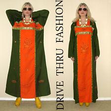 Vtg 70s  Boho Hippie EMBROIDERED Brocade Maxi FESTIVAL Ethnic Dress CAFTAN Tunic