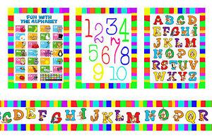 Dolls House Wallpaper Border Nursery 55 ins long + 3 posters Alphabet 1/12 B31P
