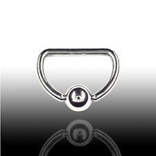 1,6mm Stahl D-Ring Brust Intim Piercing Größe: 10/12/14/16mm Klemmkugel Ring