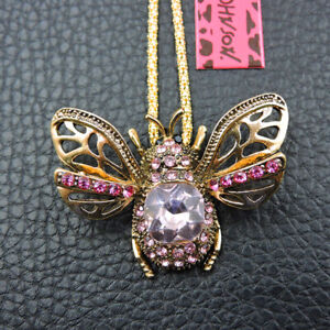 Cute Animal Pink Bee Crystal Pendant Betsey Johnson Chain Necklace/Brooch