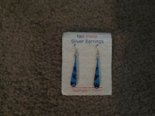Handcrafted Teardrop Pierced Earrings Turquoise Lapis Alpaca Silver From Mexico