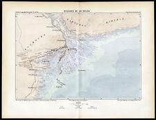 Antique Map-ESTUARY-VOLGA RIVER-RUSSIA-Reclus-Erhard-1880