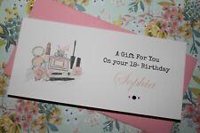 Handmade Personalised Girly Make Up Birthday Money Voucher Gift Card Wallet