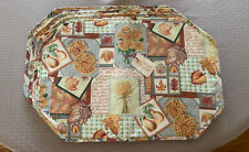 """Fall Autumn """"Harvest Bouquet"""" Quilted Place Mats - Set of 4 - 19"""" x 13"""""""