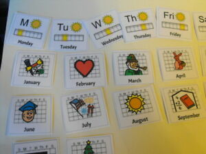 Board maker Days/ Months/seasons pec cards with hook and loop attatchments