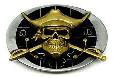 Skull Belt Buckle Pirate & Crossed Swords Black & Gold Authentic Dragon Designs