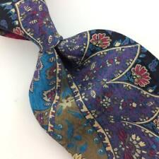 Vtg DAMON USA TIE  Floral Brocade VIOLET Turquoise Red Silk Necktie IS13-470