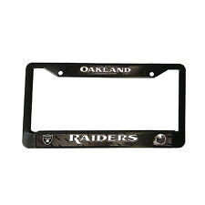 "Football Oakland Raiders Black Plastic License Plate Frame 12.5"" x 6.5"""