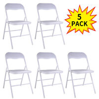 5-Pack Commercial Plastic Folding Chairs Wedding Party Stackable Chair White