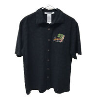 Disney Parks Camp Black Shirt Embroidered Mickey Mouse in Paradise Mens Sz M EUC