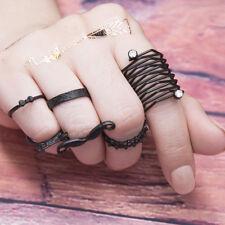 6Pcs/Set Gothic Vintage Black Hollow Rhinestone Women Ring Simple Jewelry