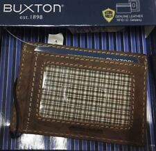 NEW Mens RFID SLIM WALLET Brown Leather Buxton Front Pocket ID Money Card Holder