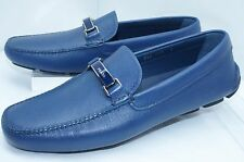 New Prada Men's Blue Shoes Calzature Uomo Loafers Drivers Size 10 Saffiano