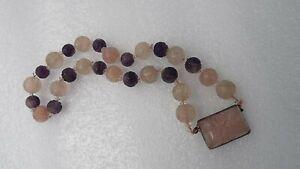 Vintage Chinese Carved Amethyst & Rose Quartz Shou Bead Necklace Sterling Silver