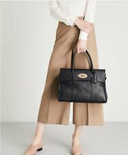 mulberry bayswater Women's Tote bag black With Polished Gold Plate, Authentic