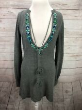 Free People BOHO Gray Sweater Mini Dress Top Tunic Knit Soft Size S 47% Wool L/S